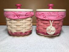 Rare Longaberger Pair 2011 Horizon of Hope Hoh Basket Protector Liner Lid Tie-on