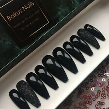 Hand Painted False Nails Black And glitter long coffin Reusable Press On Nails