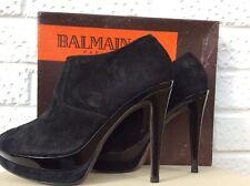BALMAIN PARIS Peep Toe Ankle Boots 38 (5UK) Black Suede NEW
