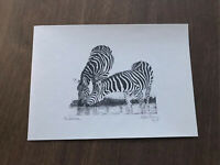 Signed by Glenn Irving LE 100 print of pencil sketch three Gazelles over water