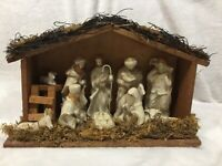 CHRISTMAS NATIVITY SET WOOD CRECHE ALL ATTACHED RUSTIC 10 FIGURES
