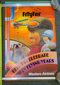 "Vintage Original Western Airlines Travel Poster ""Fifty Fair""  / WAL"