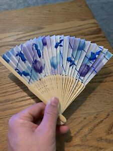 Vintage Japanese Hand Fan Blue Shades Purple Circles