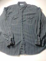 Ryan Michael Mens Western Snap Button Shirt Size 2XL XXL Black Blue Striped Silk