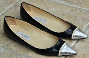 Jimmy Choo Black Patent Leather / Silver Snake Skin Toe Tips Flats Size 39 /6 UK
