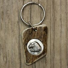 HANDCRAFTED ANTLER KEY CHAIN WITH EAGLE HEAD INLAY~GREAT GIFT!!!!