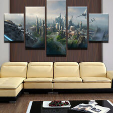 Large Framed Star Wars City Falcon Tie Fighter Canvas Print Home Decor Wall Art