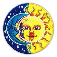 Moon & Sun Yin Yang Patch Embroidered Peace Hippie Iron on Applique Logo Stars