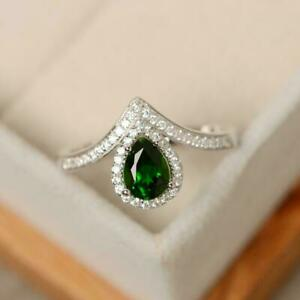 2CT Pear Cut Green Emerald Drop Shape Women Engagement Ring 14K White Gold Over