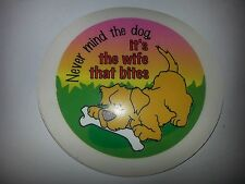 QTY 1 (ONE) CARTOON TAX DISC holders NEVER MIND THE DOG IT'S THE WIFE THAT BITES