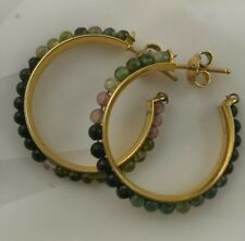 natural Tourmaline beads hoop earrings,  yellow gold plated silver  30 mm