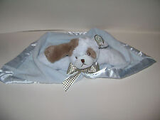"""Bearington Baby Collection Dog Bow Security Blanket Lovey Plush Brown Blue 15"""""""