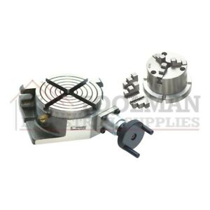 """New Rotary Table 4""""/ 100mm  Horizontal and Vertical + 80mm  3 Jaw Chuck"""