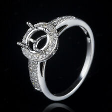 Round 6.5mm Semi-mount 10K White Gold Pave&Prong Setting Diamonds Wedding Rings
