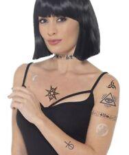 Occulto Tattoo Trasferibili Blu Nero Strega di Halloween Finta