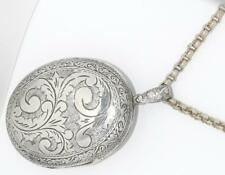 "Estate Antique Victorian Large Etched Locket Pendant on 18"" Rollo Chain Necklace"