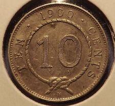 Rare 1900 H Sarawak Silver 10 Cent Raja Brooke-Nice