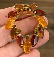 Beautiful Vintage Juliana Shades of Topaz Gold Tone Brooch Pin