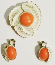 parure bijou vintage broche boucles d'oreilles clips blanc cérusé orange * 3326