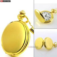 Smooth Golden Vintage Retro Pocket Watch Quartz Necklace Pendant Chain New Gift