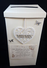 Mr & Mrs Wedding Card Post Box Personalised Silver Butterflys Heart Wishing Well
