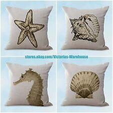 US SELLER- 4pcs sofa pillow cushion covers beach costal seahorse crab