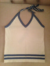 MARC JACOBS Women Ivory & Blue Ribbed Tennis Halter Tank Top - SIZE LARGE - NWT!