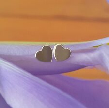 18ct 18k Solid White Gold 'Forever' Heart Stud Earrings - Original Design by CTJ