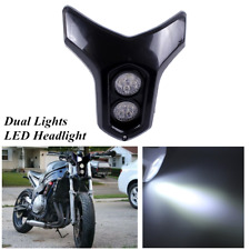 Motorcycle Street Fighter Dirt Bike 12V Dual Lights LED Headlight Assembly Kit