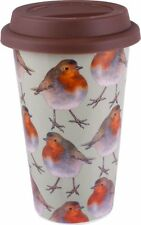 Into the Wild CHRISTMAS ROBIN BIRD Travel Mug with Lid CERAMIC Double Walled Cup