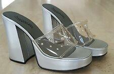 Rare Vintage SKECHERS Clear Rhinestone Vinyl Silver Platform Heels