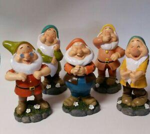 DISNEY Snow White & Seven Dwarfs: Set of 5 Garden Statues NO GRUMPY OR DOPEY New