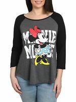 Juniors Plus Size Minnie Mouse T-Shirt Raglan Baseball Tee 3/4 Sleeve