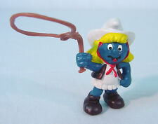 Vintage Smurfs~   SMURFETTE  COWGIRL Schleich Peyo~PVC Toy Figure 1980's~COUNTRY