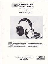 VINTAGE AD SHEET #3271 - 1970s RIVIERA ELECTRONICS MODEL HDV-80 HEADPHONES