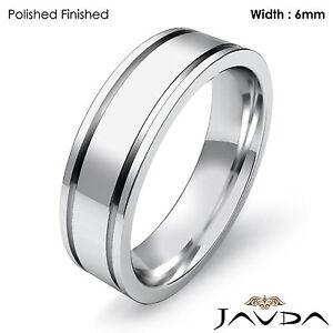 Men Wedding Solid Band Platinum Flat Fit Plain Matte Ring 6mm 14.3gm 11-11.75