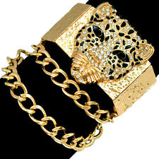 Gold Lion Bracelet Statement Rhinestone Panther Stretchy Chain Alloy Bangle UK