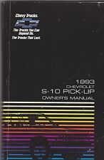 1993 CHEVROLET S-10 PICK-UP TRUCK --  vintage original car owners manual