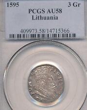 1595 Lithuania Poland Sigismund Iii 1587-1632, Silver 3 Groschen Pcgs Au58 Rare