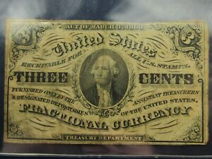 March 3, 1863 Fractional Currency Third Issue 3C Three Cents Note Washington #2