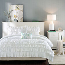 WHITE RUFFLED Full Queen COMFORTER SET : 5PC TEEN GIRL RUFFLES LAYERED SHABBY