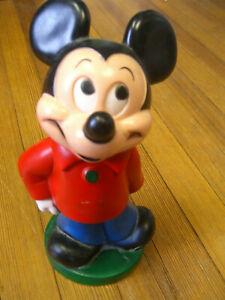 "Vintage Play Pal Plastics Walt Disney MICKEY MOUSE 11"" Piggy Bank w/stopper"