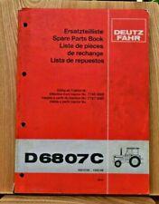 DEUTZ FAHR D6807C TRACTOR SPARE PARTS LIST ENG D F 500 0735 1050-99 09.81 ERSATZ