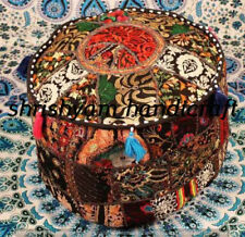 """Indian Vintage Ottoman Patchwork Round Pouf Cover Pouffe Foot Stool Ethnic 22"""""""