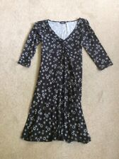 LADIES BLACK WITH WHITE CIRCLES GEORGE VISCOSE 3/4 SLEEVE DRESS SIZE 12