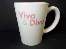 Hallmark stoneware coffee mug VIVA la DIVA! Pink green white Pink inside 10 oz
