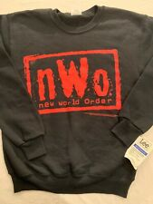 VTG 1998 NWO NEW WORLD ORDER CREW NECK SWEATSHIRT MENS MEDIUM RED BLACK NEW