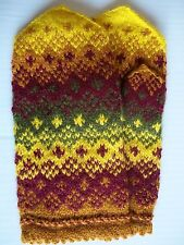 Latvian hand knitted 100% wool mittens, yellow/olive/burgundy/brown (size M/L)