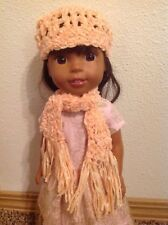 "Wellie Wishers crocheted scarf hat/beanie American Girl 14"" doll clothes outfit"