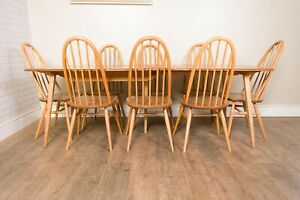 Ercol Grand Windsor Extending Dining Table with 8 Windsor High Back Chairs